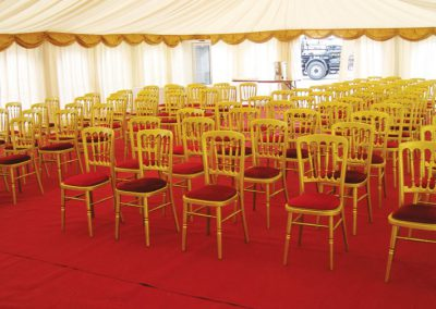 gold and red marquee chairs for hire